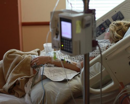 Mommy in hospital bed