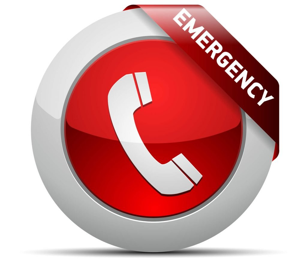 emergency sign with phone