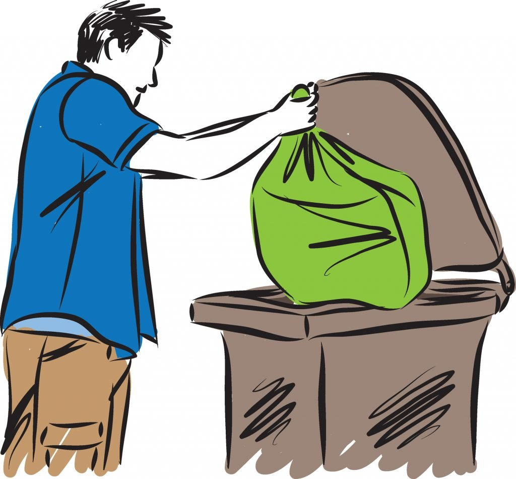 drawing of man emptying the diaper pail bag into trash can outside