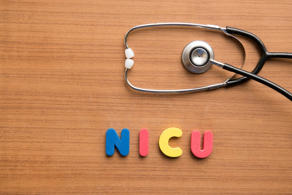 Letters spelling out NICU with a stethoscope