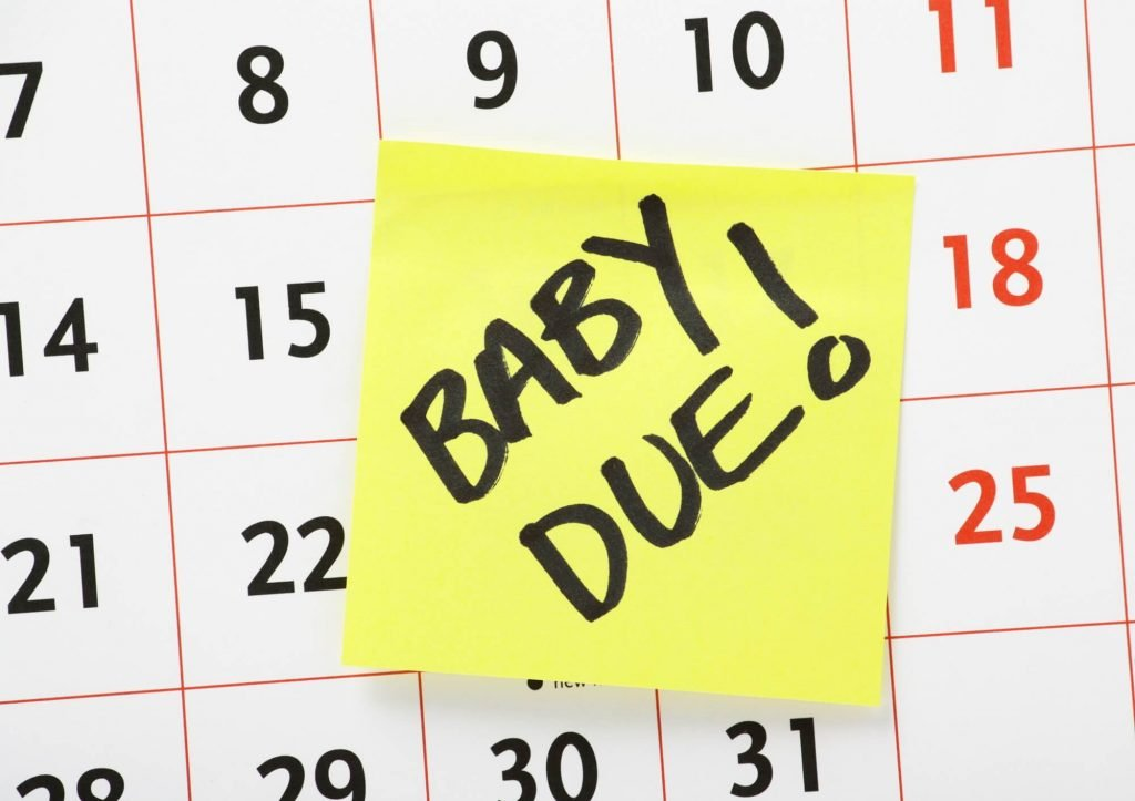 calendar with post it saying baby due!