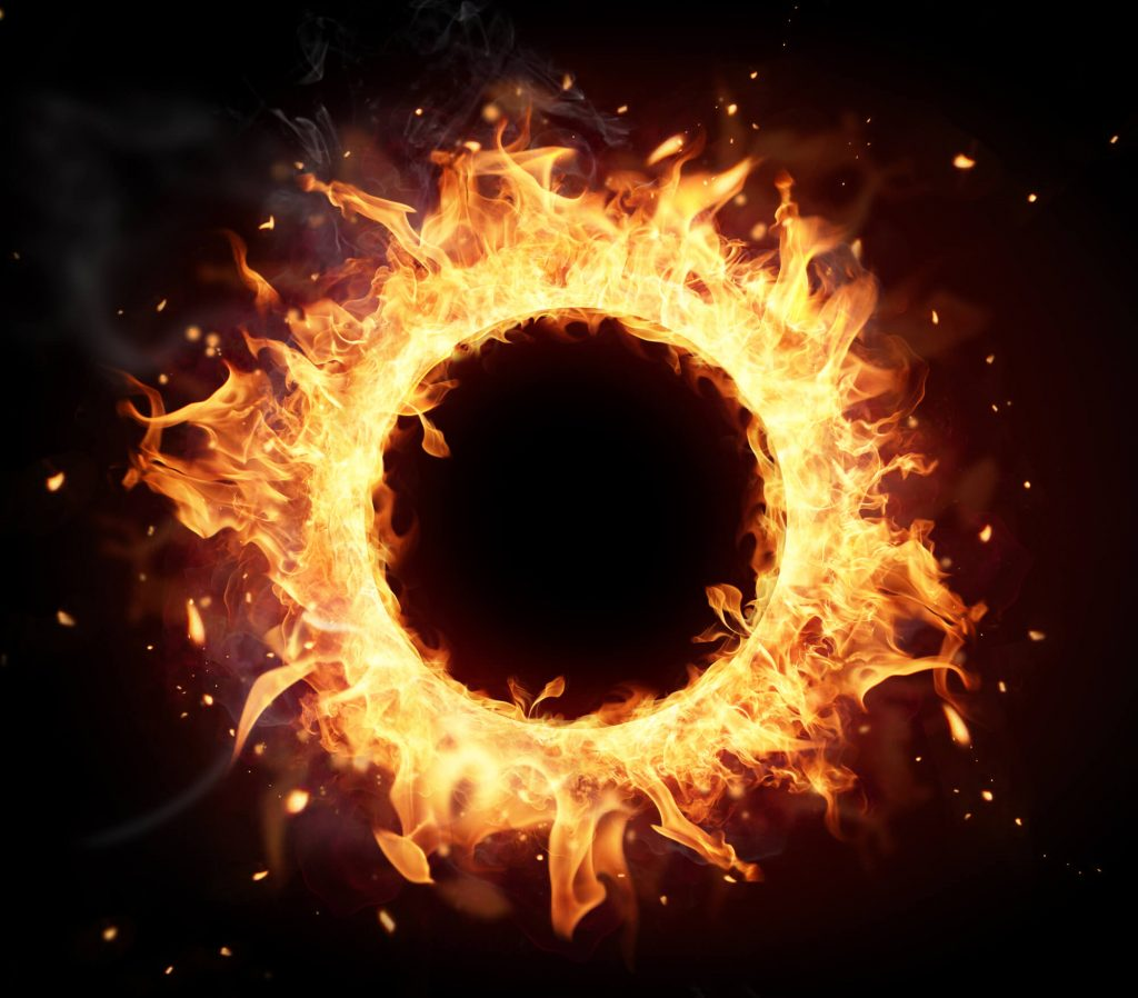 a ring of fire to represent pain to lady parts during labor and delivery in the second stage of labor