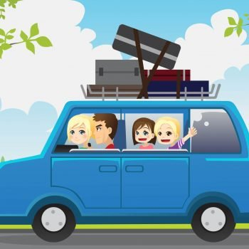 Tips for traveling for with babies and young kids, cartoon pic of family in a car for a road trip