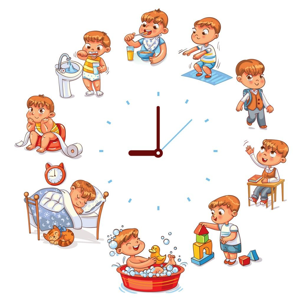 cartoon of baby at different times around the clock for tips on planning your trip with babies