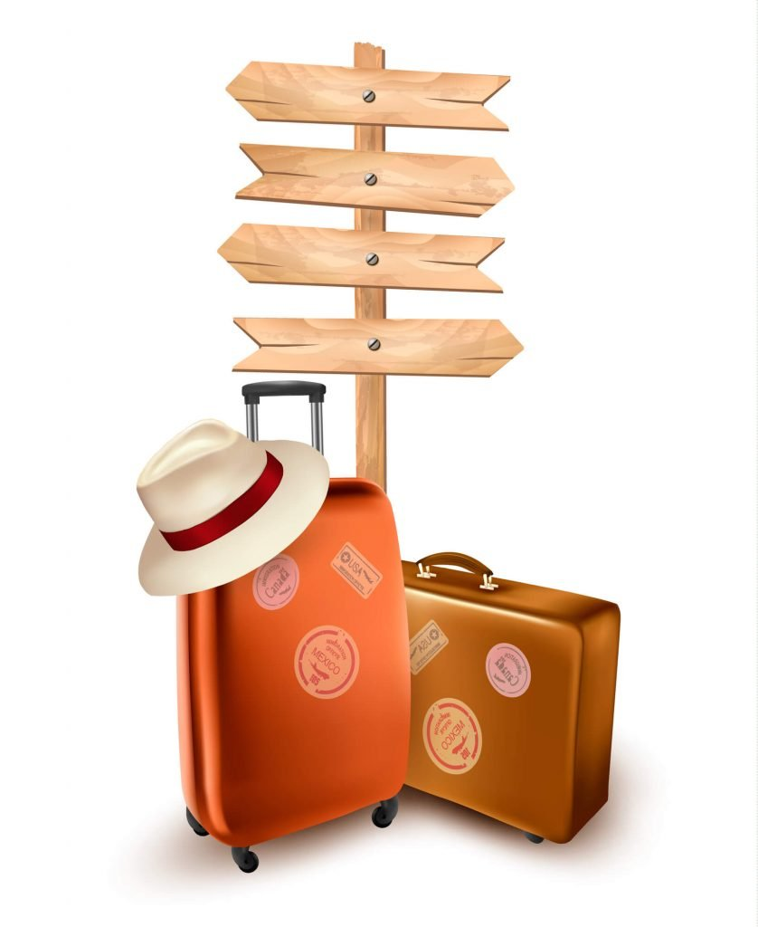 luggage in front of a blank traveling sign, tips for traveling with babies and young kids
