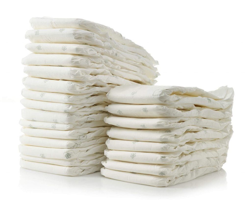 stack of diapers when planning for a trip with babies