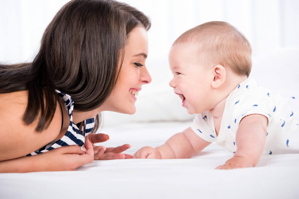 Will I be a good mom- mom playing and boding with infant baby, laughing together, making eye contact