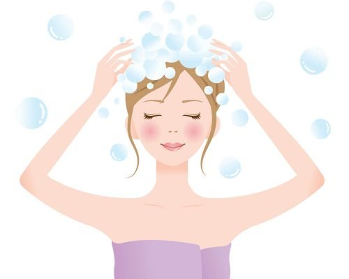 vector of mom washing her hair for self care